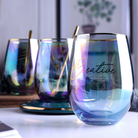 Creative Multi Color Glass Water Cup wine glasses Luxury Coffee Cup set saucers with spoon Heat resistant Afternoon tea cups