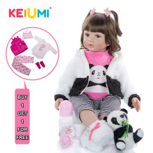 KEIUMI New 2019 Reborn Baby Doll Cute Panda Baby 60cm Silicone Vinyl Realistic Newborn Baby Reborns Curls add 2 pcs Free Clothes(China)