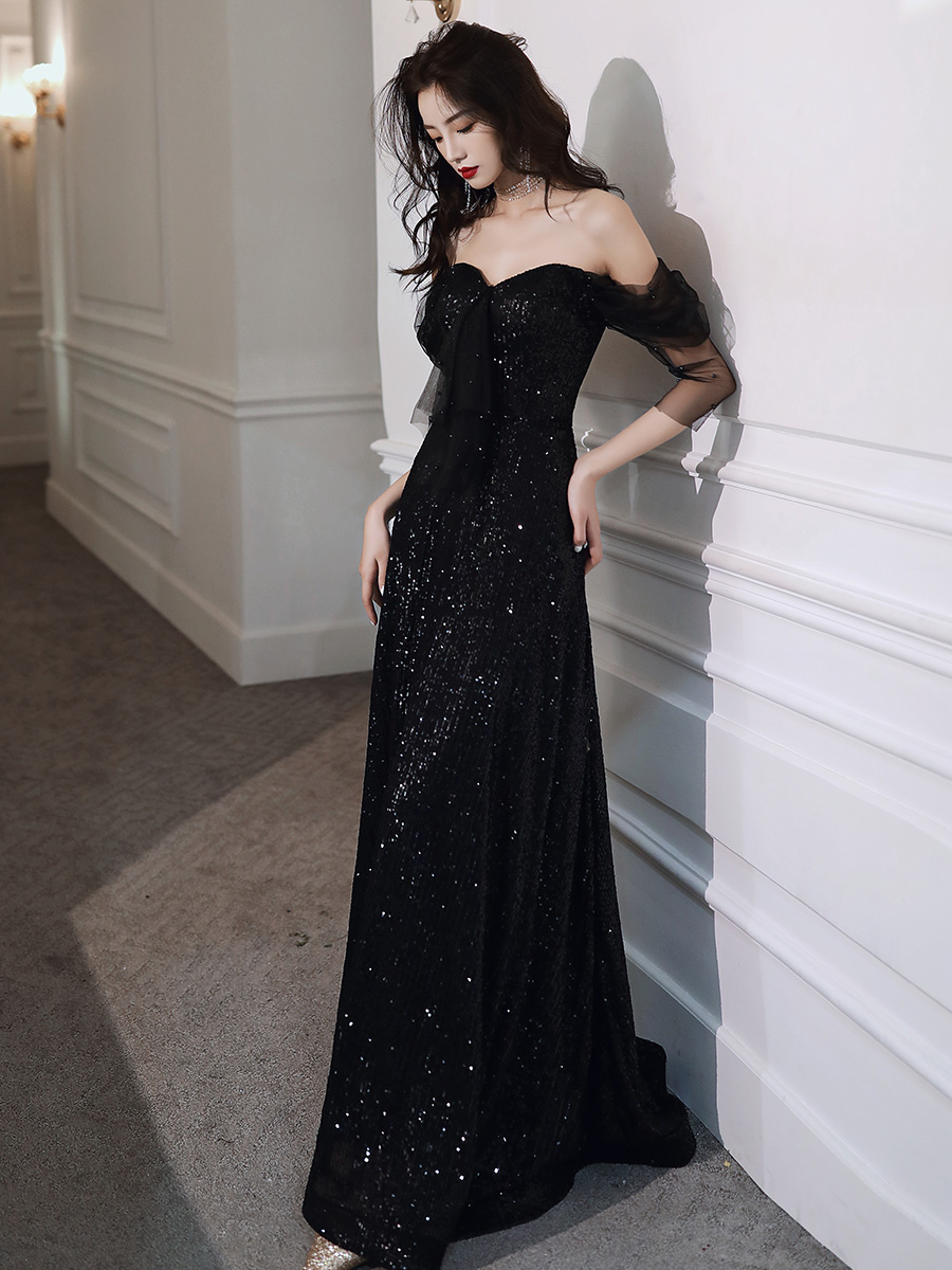 New Sequin Evening Dress Long Sexy Black Off-The- Shoulder Three Quarter Backless Prom Dress Fashion Elegant Party Evening Gown