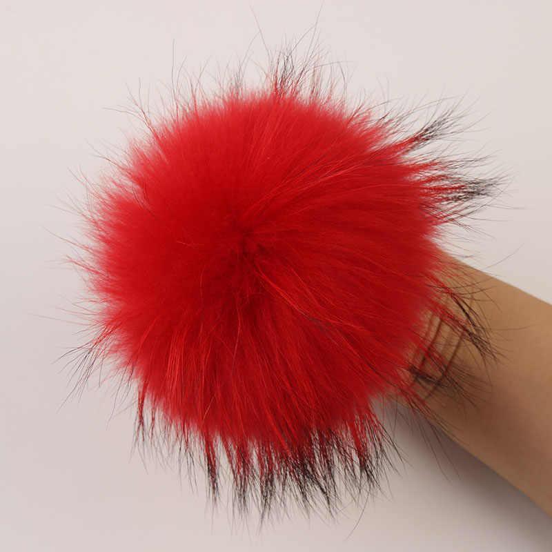 DANKEYISI Echt Fur Pompoms 15-16cm DIY Waschbär und Fuchs Pelz Pom Poms Bälle Natürliche Fell Pompon Für mützen Taschen Schal Zubehör