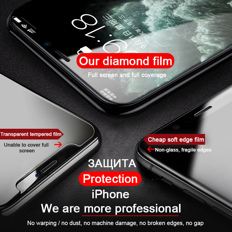 30D Full Cover Tempered Glass For iPhone 11 Pro Max Glass X XS Max XR Screen Protector Glass On For iPhone 6 6s 7 8 Plus X Film 3