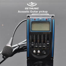 마이크로 폰이있는 5 밴드 LC 5 어쿠스틱 기타 픽업 기타 EQ 프리 앰프 5 밴드 EQ 이퀄라이저 어쿠스틱 기타 용 픽업 튜너 LCD
