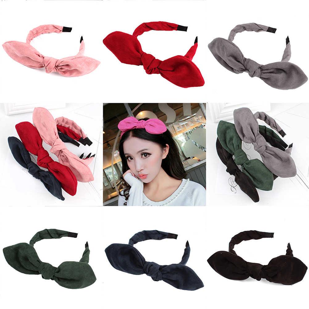 ใหม่กระต่ายหูผ้า Big Bow Headband ผู้หญิงหญิงผม Hoop Hairbands Headwear สีแดงสีชมพู Hair TIES อุปกรณ์เสริมร้อน