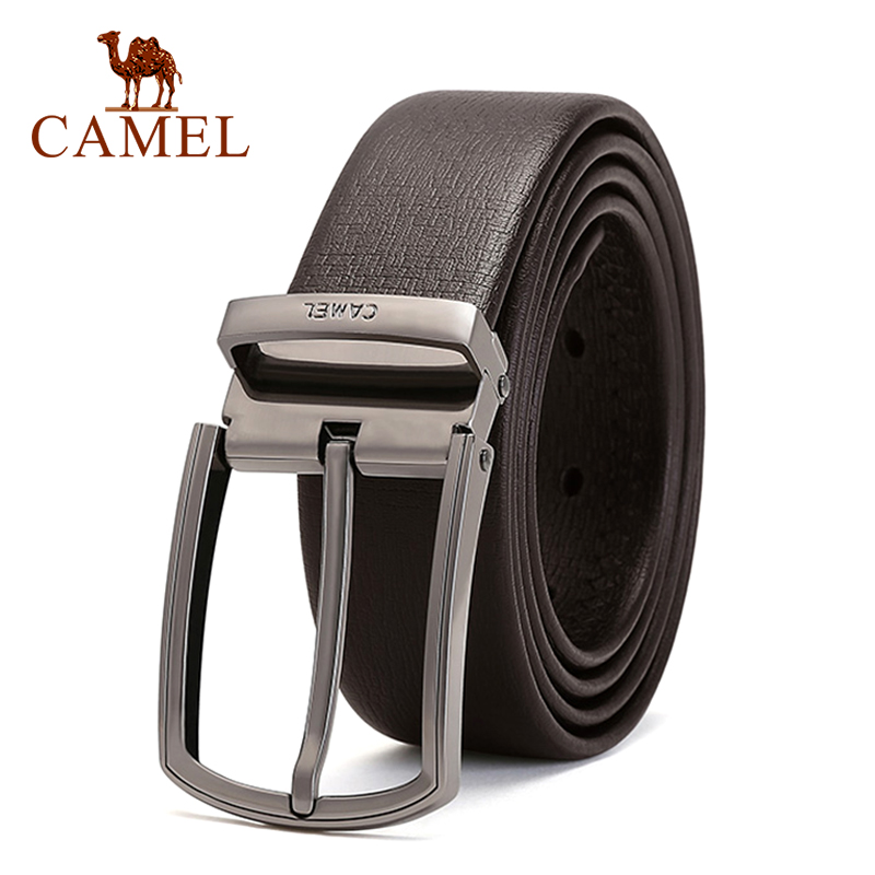 CAMEL Fashion Men Belt Genuine Leather Business Wild Casual Buckle Belt Cross Buttonhole Design Flexible