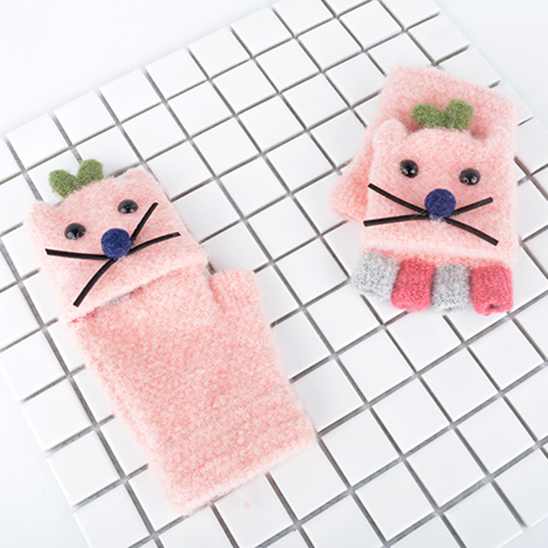 AHB Cute Cat Style Children's Gloves Winter Knitted Gloves Half Finger Warm Mittens Kids Gloves For Boy Girls 4-8 Years
