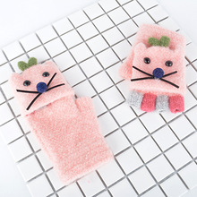 AHB Cute Cat Style Children's Gloves Winter Knitted Gloves Half Finger Warm Mittens Kids Gloves for Boy Girls 4-8 Years super cute cat style warm plush gloves for cold weather black pair