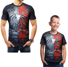Family Matching T-shirt Daddy and Me Clothing Men's T-shirt 2019 Summer MARVEL Spider-man Fashion Tees for Boys Casual T-shirt(China)