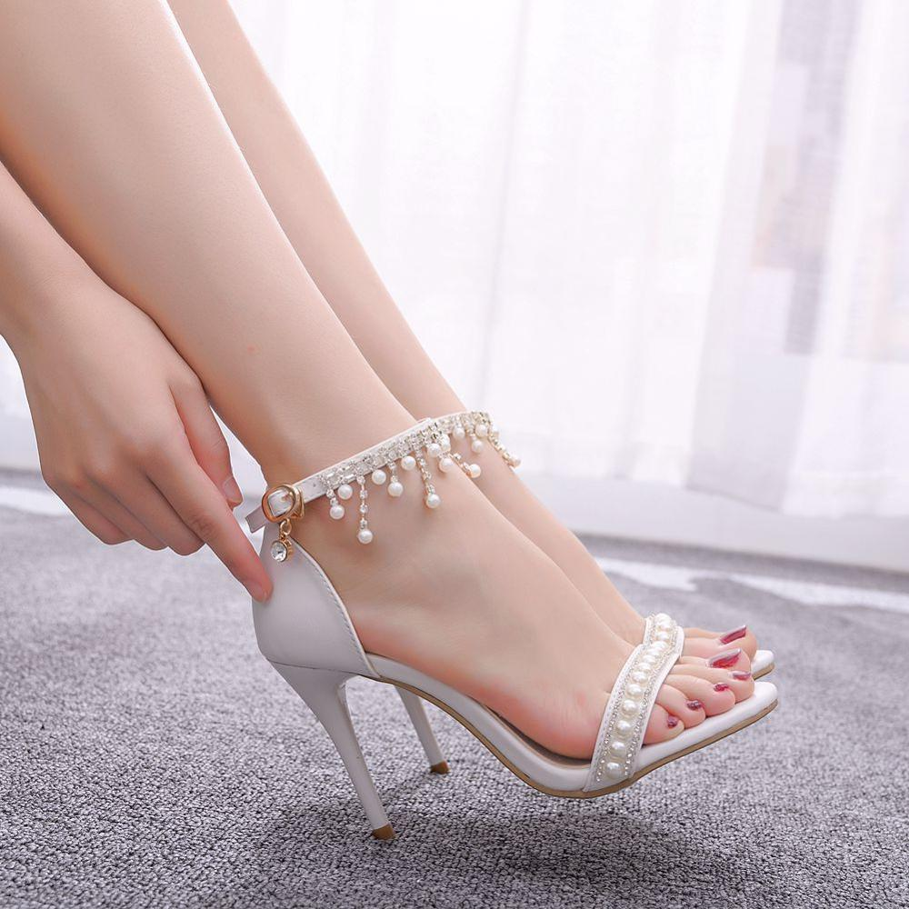 Crystal Queen Sweet White Sexy Dress Wedding Shoes Women Lacing Ankle Strap Peep Toe High Heel Sandals 9cm Heels Pumps