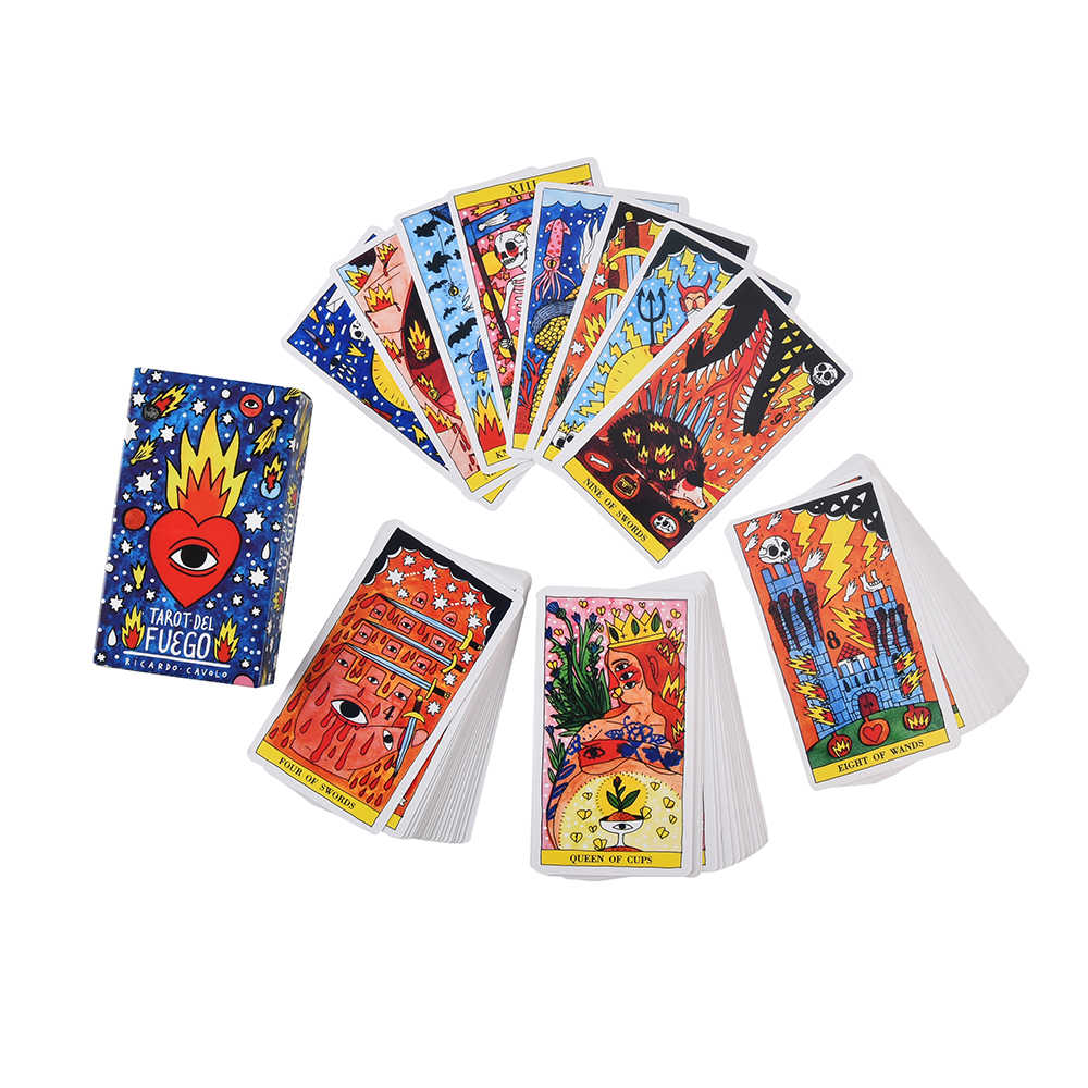 Tarot del Fuego karty Tarot na pokład oracki elektroniczny przewodnik książka gra zabawka Ricardo Cavolo Light Seer Dreams Wizards zabawka