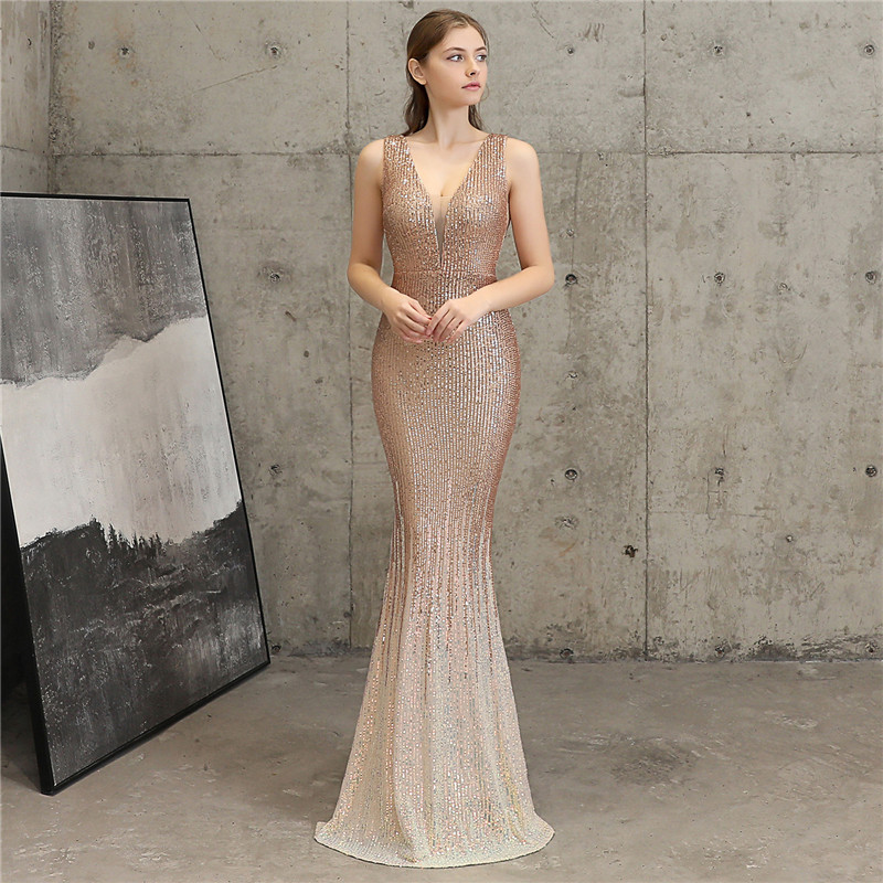 Sexy Sequined Evening Dress 2020 New Vestido Largo Fiesta Noche Elegante Lace Gradient Mesh Fishtail Dresses Vestido De Noche