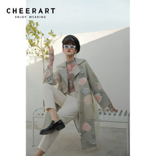 CHEERART Organza Floral Trench Coat For Women High Street Fashion 2019 Autumn Long Loose Overcoat Designer