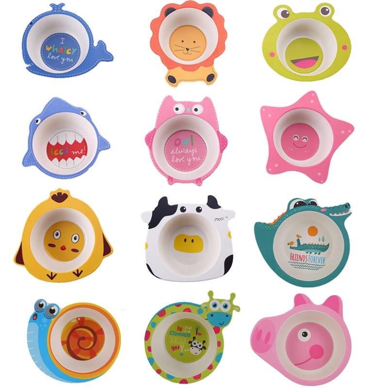Cartoon Bamboo Fiber Baby Feeding Bowl Kids Baby Food Dishes 8 Styles