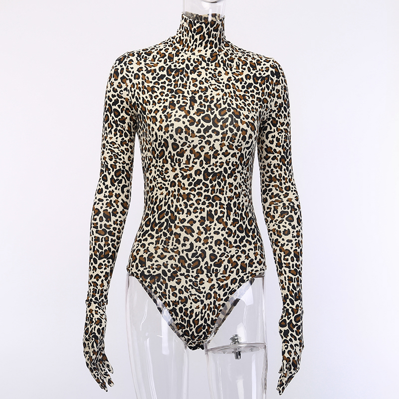 H90f1dc0092034fe19c78ce3073c0963do - WannaThis Autumn Winter Leopard Print Bodysuit for Women Sexy Bodycon Skinny Elastic Turtleneck Long Sleeve Gloves Sexy jumpsuit