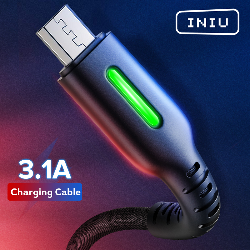 INIU 3.1A Micro USB Type C Cable LED Android Mobile Phone Charger Fast Charging Microusb USB C Data Cord For Xiaomi Redmi Note 9(China)