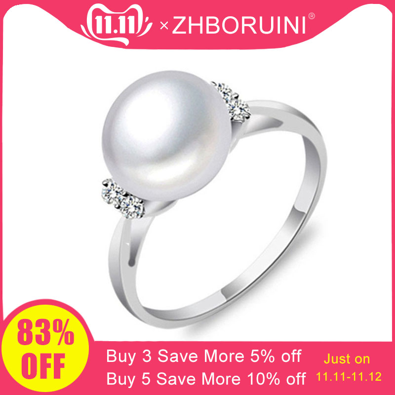 ZHBORUINI Fashion Pearl Ring Pearl Jewelry Natural Freshwater Pearl 925 Sterling Silver Jewelry Rings For Women Wedding Gift