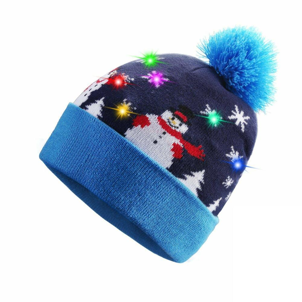 Fashion Lady Men'S Hat Glowing LED Glow Knit Knit Sweater Holiday Christmas Christmas Hat Cartoon Snowman Christmas Deer Hat