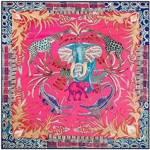 Роскошный бренд 100% твил шелковый шарф многоцветный конский квадратный шарф новый дизайн платок с принтом женский шейный платок обертывани...