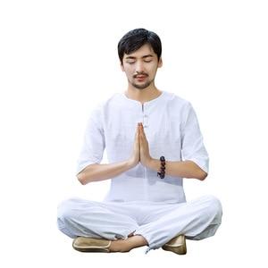 Мужской комплект для йоги из хлопка и льна, свободные широкие штаны для йоги, рубашки для йоги, мужская форма для медитации, боевых искусств, ...
