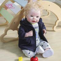 NPK-Muñeca de bebé recién nacido de cuerpo suave de 55CM, muñeco de bebé recién nacido de tamaño rubio con pelo enrutado, 100%, juguete de arte coleccionable hecho a mano