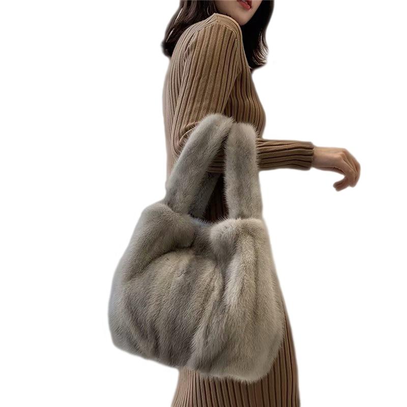 IANLAN Womens Real Fur Handbag Ladies Full-pelt Mink Fur Tote Bag Genuine Sheep Leather Bottom Shopping Bags IL00529