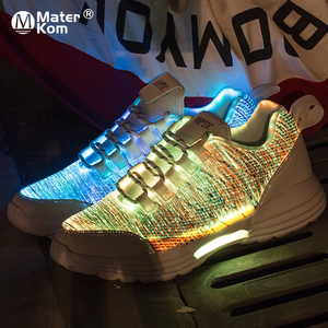Image 1 - Size 35 46 Childrens Lighted Shoes Boys Girls Glowing LED Sneakers for Kids Mens Womens with Luminous Sole fiber optic shoes
