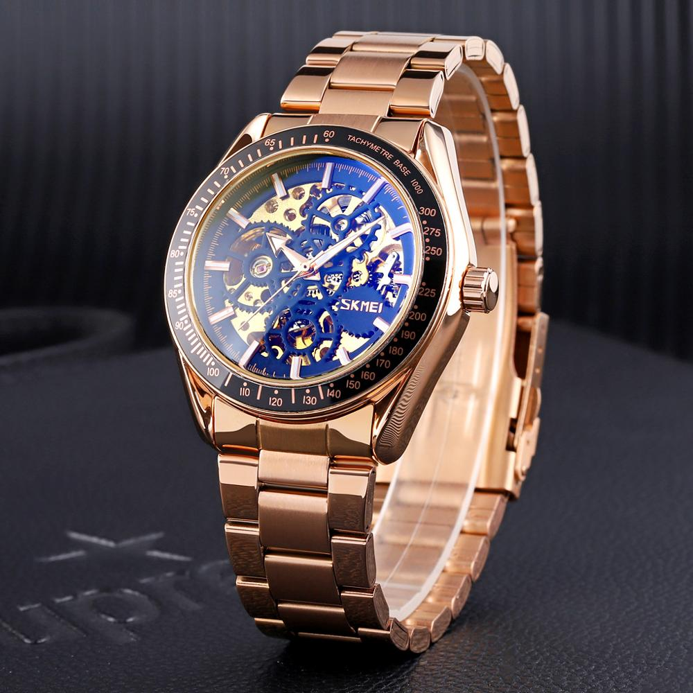 SKMEI Brand Luxury Automatic Watch Men Stainless Steel Men's Mechanical Watch Waterproof Business Wristwatch Mens Clock