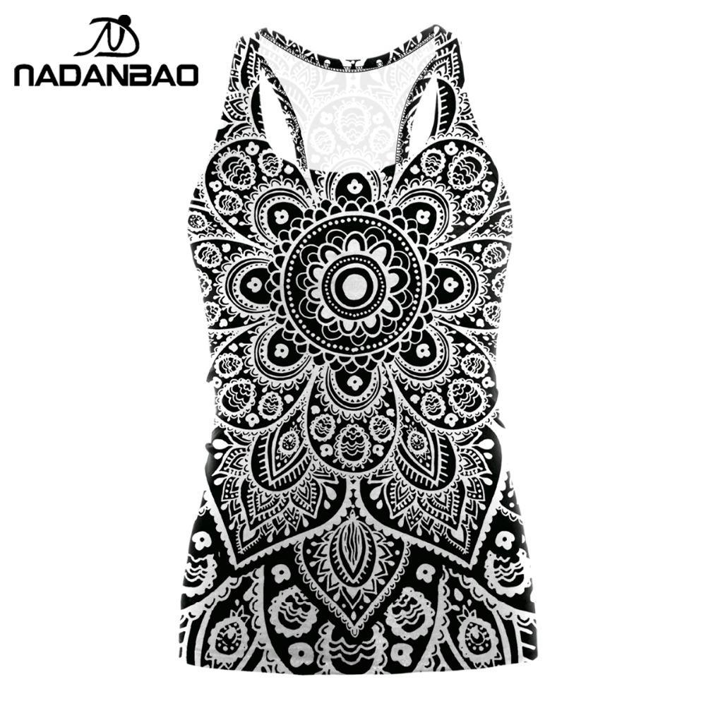 NADANBAO Mandala Plus Size Tshirt   Tank     Tops   Women Red Flower Aztec Round Ombre Sleeveless Sexy Club T shirt Feminina