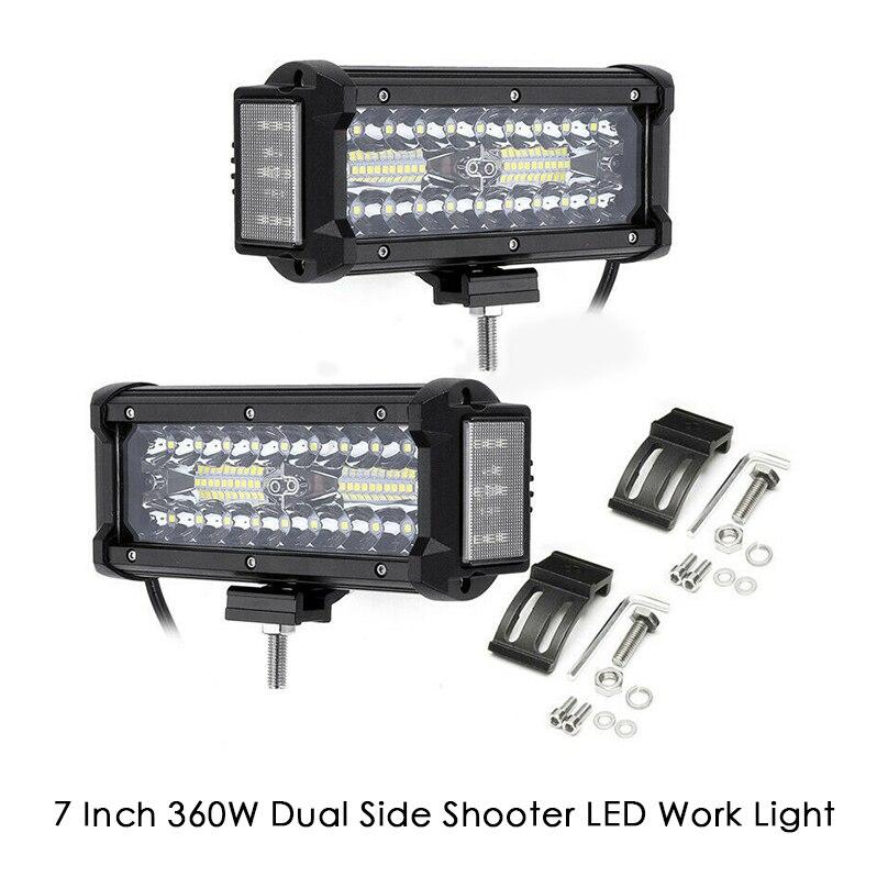 7 Inch 360W Dual Side Shooter LED Work Light Bar Combo Offroad ATV Driving Lamp Light Bar/Work Light     - title=