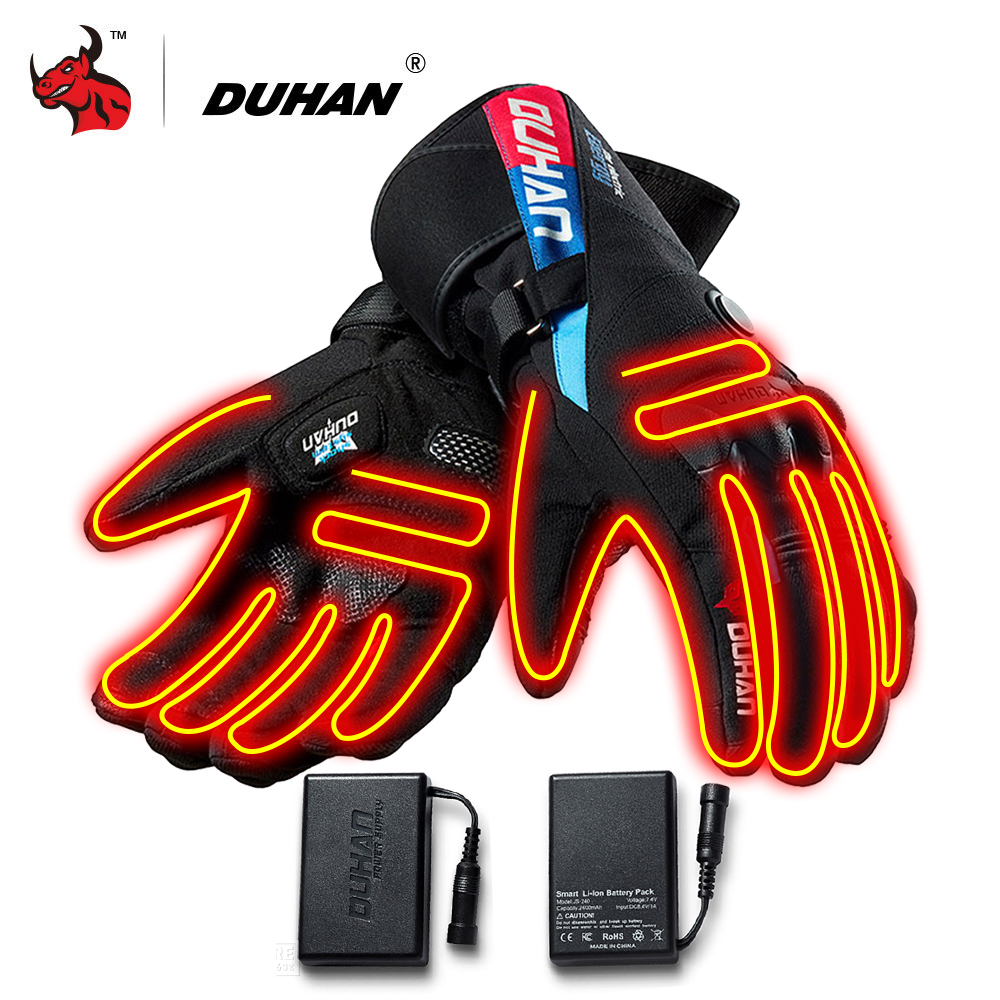 DUHAN Motorcycle Gloves Waterproof Heated Guantes Moto Touch Screen Battery Powered Motorbike Racing Riding Gloves Winter