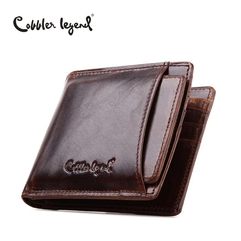 Men fold wallet in Genuine Leather Vintage Casual Coin pocket card cash zipper wallet for men