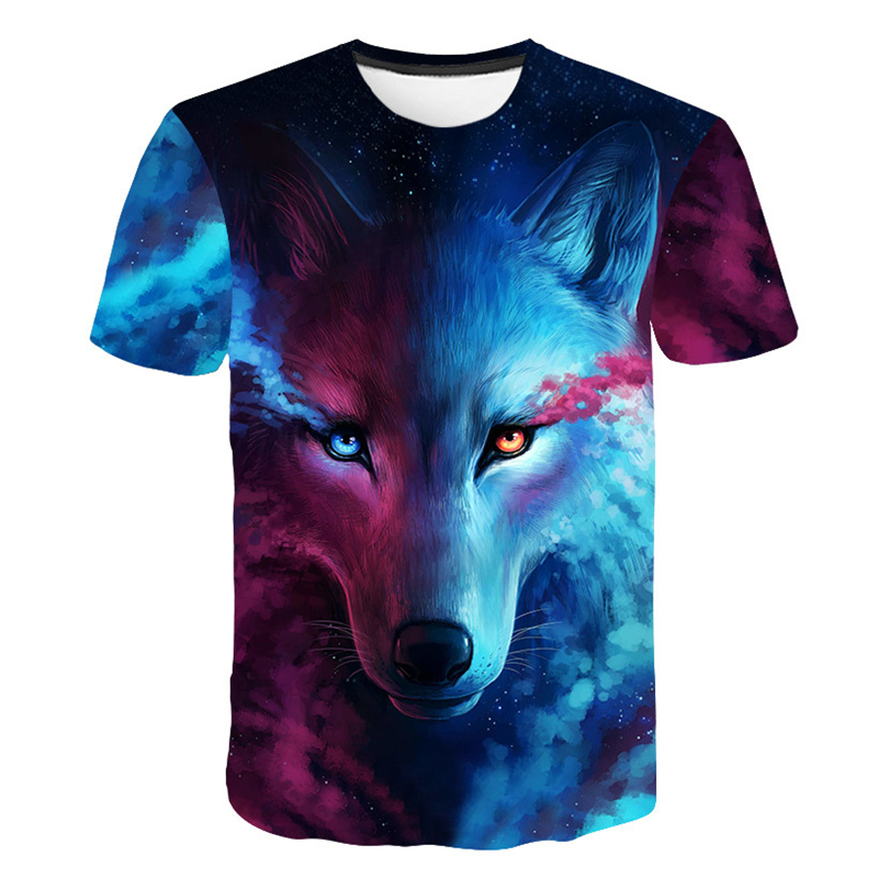 Wolf 3D Print T Shirt Summer Short Sleeve Tees Tops Cool Funny Animal Printing T-Shirt Casual Tshirts Men Clothing