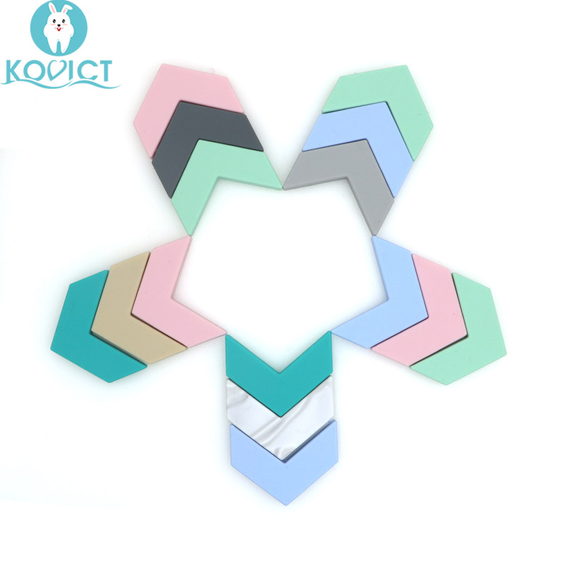 Kovict 5pc Silicone Big V Beads Holes Silicone Flower Baby Teething Beads Diy Beads DIY Accessories