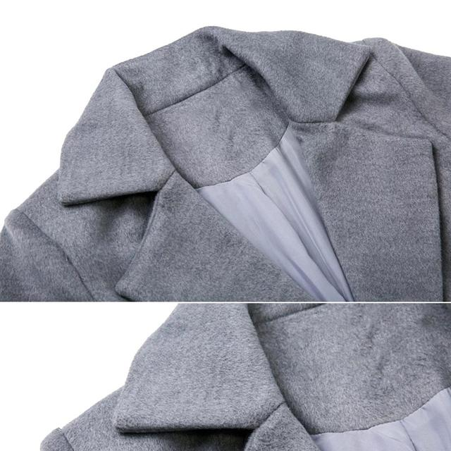 Winter Women Trench Coat Casual Lapel Collar Open Stitch Woolen  Female Coat Fashion Warm Pocket Solid Plus Size Long Outwear 6