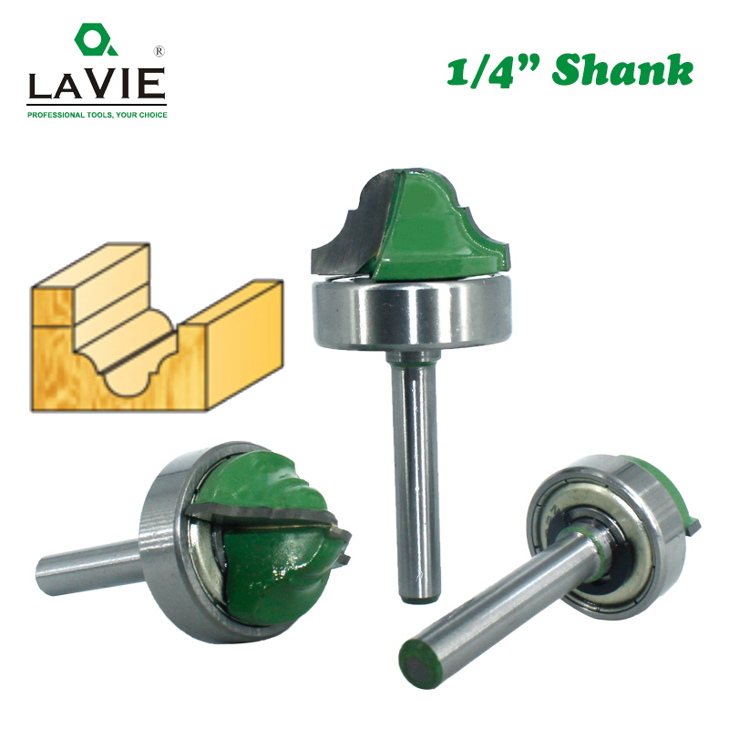LAVIE 1pc 6.35mm Shank Double Roman Ogee Edging Router Bit Bearing Wood Line Knife Milling Cutter For Wood Hobbing MC01180