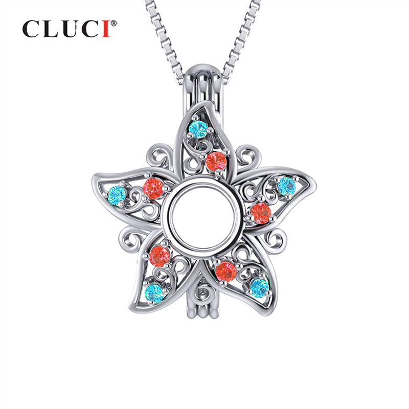 CLUCI 925 Sterling Silver Star Cage Pendant Women Zircon Charms Pendant Star Shaped Charms Silver 925 Pendant Pearl Locket