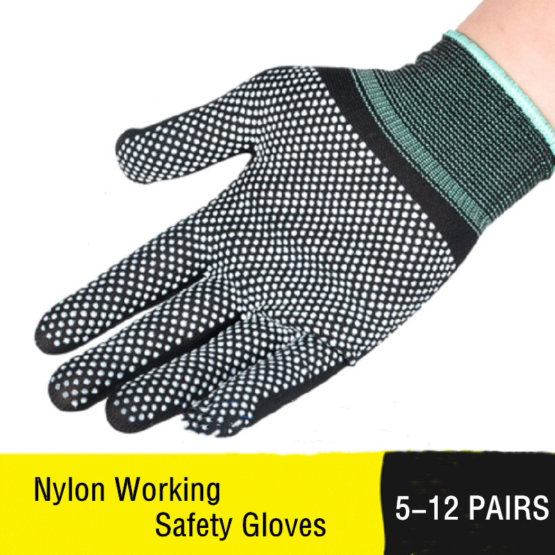 5/12 Pairs Cotton Safety Work Gloves Non-slip Palm Light Wear-resistant Anti-fouling Construction Good Grip Protective Gloves