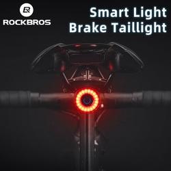 ROCKBROS Bike Tail Light MTB Road Bike Night Cycling Rear Light Smart Brake Sensor Warning Light Waterproof Bicycle Accessories