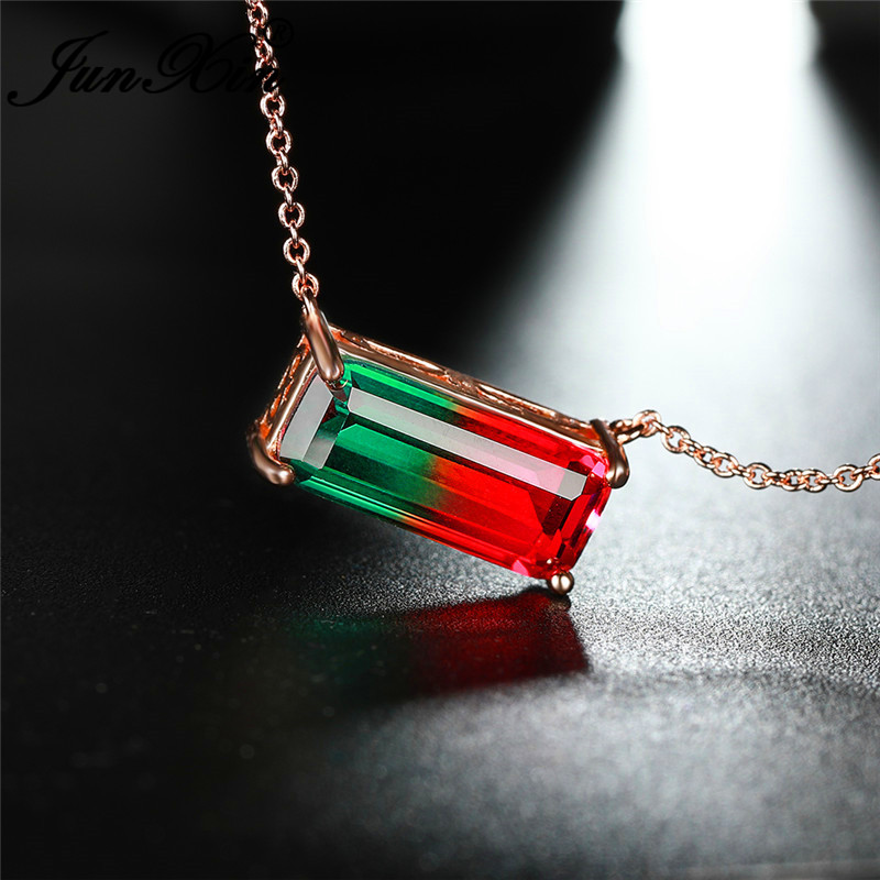 Single Stone Rainbow Fire Crystal Rectangle Pendant Rose Gold Chain Necklaces For Women Green Red Zircon Wedding Choker Jewelry