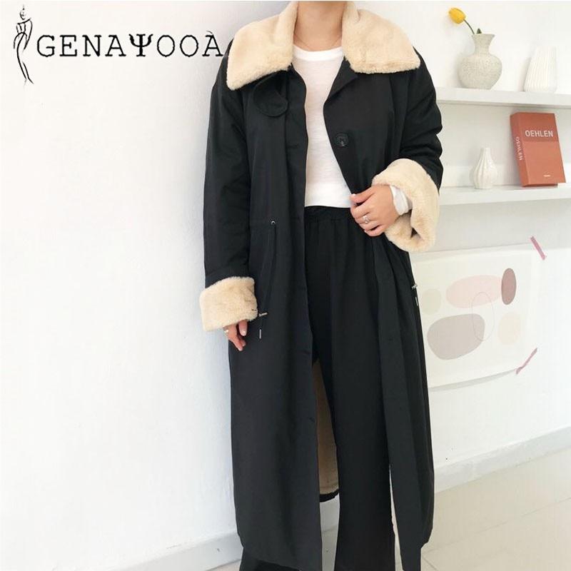 Купить женское однобортное пальто genayoa длинное теплое зимнее в корейском