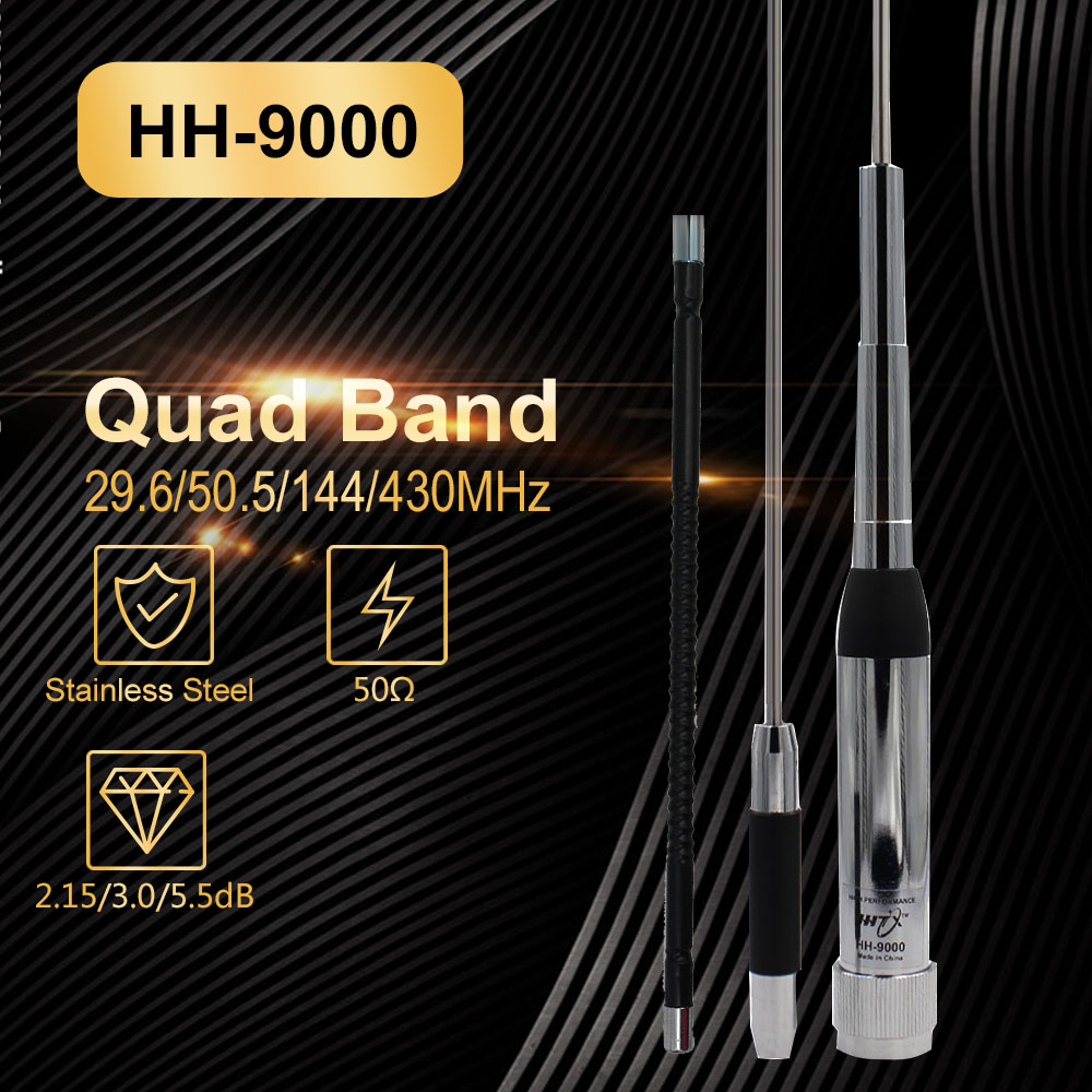 High Quality Quad Band Walkie Talkie Antenna HH-9000 29.6/50.5/144/430Mhz For TYT TH-9800 Mobile Radio