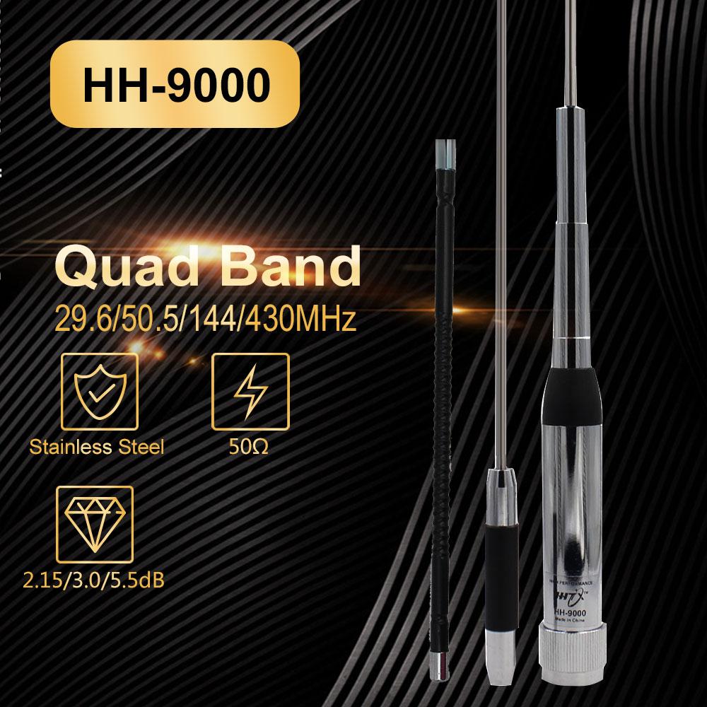 Quad Band Antena Walkie Talkie de gran calidad, HH-9000, 29,6/50,5/144 Mhz, para Radio móvil TYT TH-9800 Conjunto de antena de Quad band para Radio móvil con soporte de Clip + Antena de HH-9000 Huahong + Cable de 5M para Radio de coche TYT TH-9800 QYT KT7900D