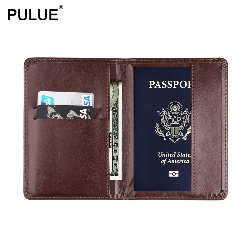 Universal Men Passport Cover Whole Colored PU Leather Travel Passport Holder Women Id Credit Card Bag Cash Wallet Ticket Holders