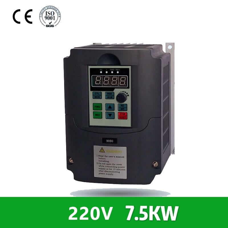 7.5KW 7500W 10hp variable frequency drive VFD inverter spindle drive 220V Single Phase Input 380V 3phase Output for 380v motor