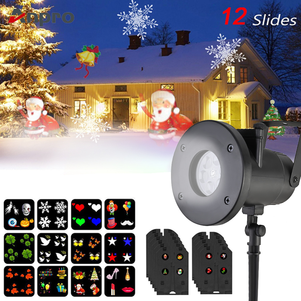 Anpro 12 Pattern Outdoor Waterproof LED Christmas Snowflake Projector Lamp Spotlight Birthday Halloween Wedding Projector Lights-in Holiday Lighting from Lights & Lighting on