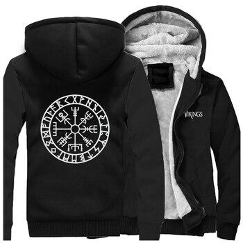 Odin Vikings Jackets Men Son Of Odin Sweatshirts Valhalla Hoodies Winter Thick Zipper Fleece Coats Sportswear Outwear Plus Size 2
