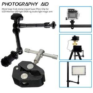 Image 1 - Регулируемый шарнирный кронштейн и зажим для крепления монитора HDMI, светодиодный светильник для ЖК видеокамеры DSLR, 11 дюймов