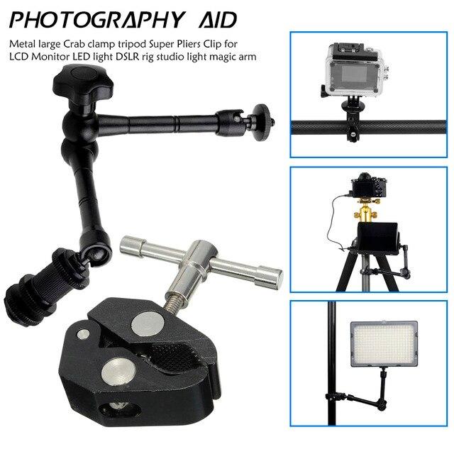 Регулируемый шарнирный кронштейн и зажим для крепления монитора HDMI, светодиодный светильник для ЖК видеокамеры DSLR, 11 дюймов