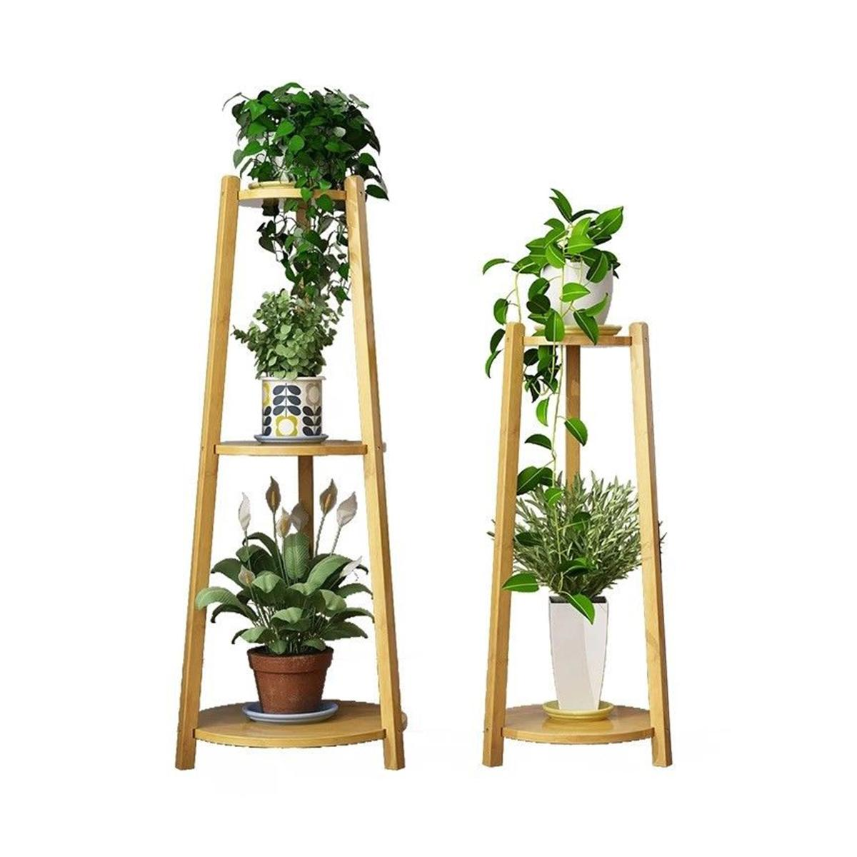 Garden Plant Stand Shelf Flower Pot Rack Simple Indoor Coffee Bar Balcony Home furniture Bamboo Multi-use Shelf Multi-layer