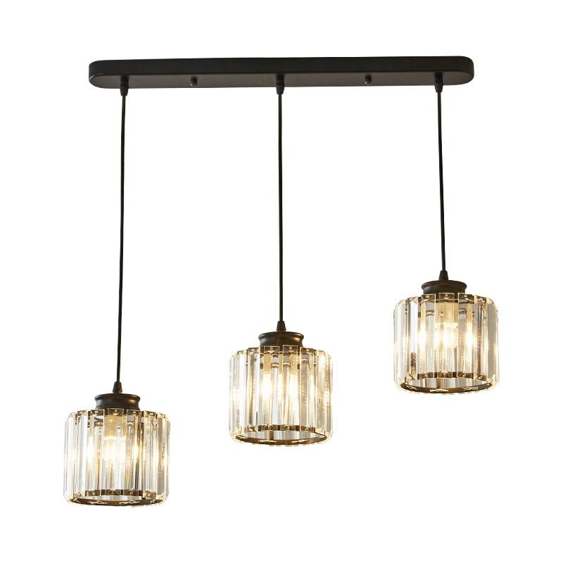 Small Simple Crystal Pendant Light Modern Light Fixture Dining Room Lights Gold/Black Suspended Crystal Lighting Hanglamp