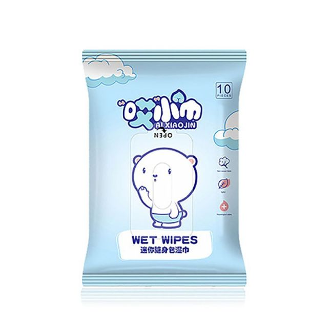 *Babys Gently Sensitive Wet Wipes For Hands 10Pcs/pack Cleaning Disinfection Outdoor Portable Wipes Kids Care Wipes Travel Pack 4